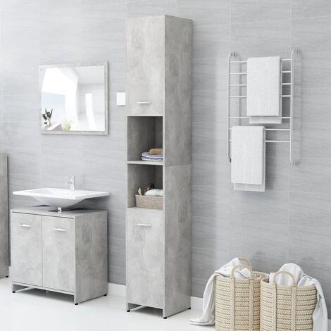Bathroom Cabinet Concrete Grey 30x30x183.5 cm Chipboard