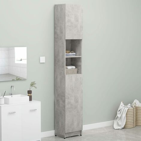 Bathroom Cabinet Concrete Grey 32x25.5x190 cm Chipboard