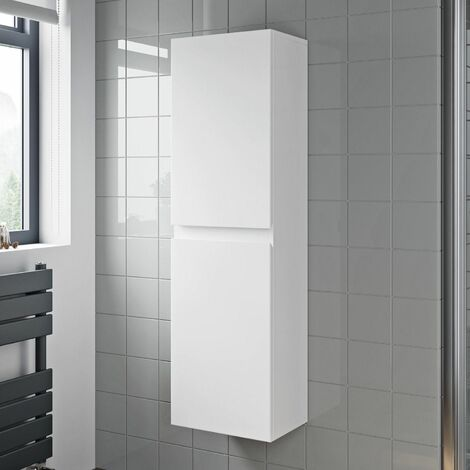 Bathroom Cabinet Flat Pack Gloss White Wall Hung Tall 350 x 250mm