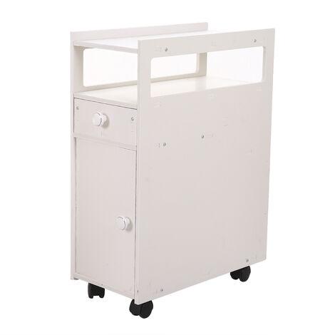 "main image of ""Bathroom cabinet freestanding narrow floor cabinet wooden storage cabinet floor type living room kitchen toilet White - White"""