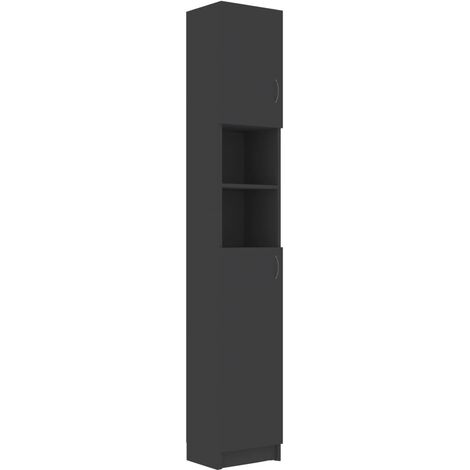 Bathroom Cabinet Grey 32x25.5x190 cm Chipboard