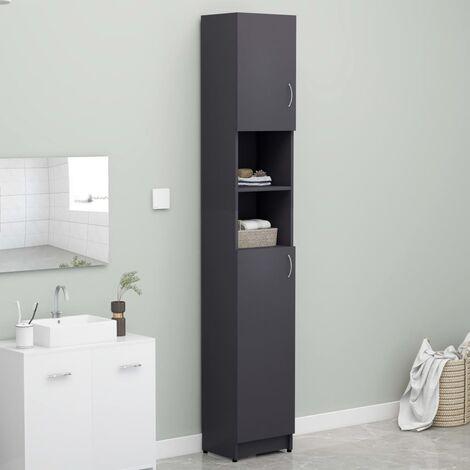 Bathroom Cabinet Grey 32x25.5x190 cm Chipboard - Grey