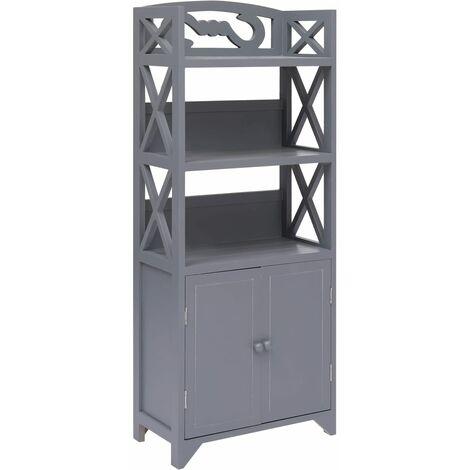 Bathroom Cabinet Grey 46x24x116 cm Paulownia Wood