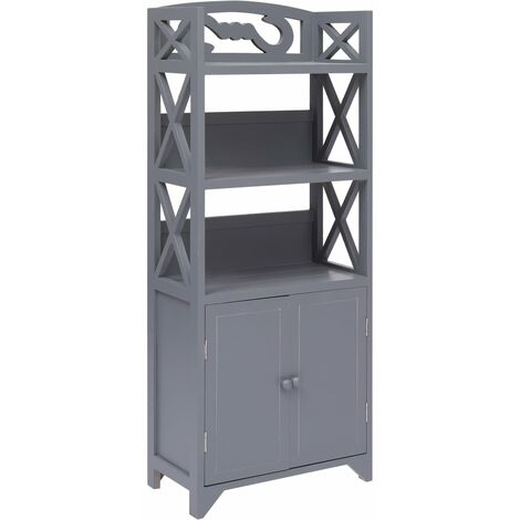 Bathroom Cabinet Grey 46x24x116 cm Paulownia Wood