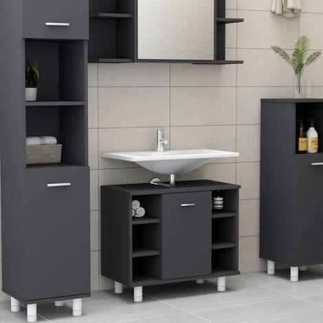 Bathroom Cabinet Grey 60x32x53.5 cm Chipboard