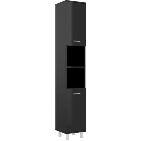 Bathroom Cabinet High Gloss Black 30x30x179 cm Chipboard