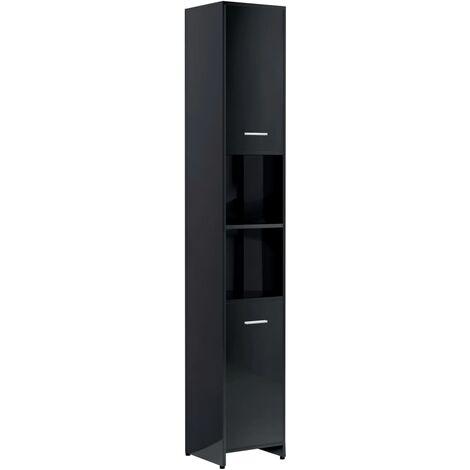 Bathroom Cabinet High Gloss Black 30x30x183.5 cm Chipboard