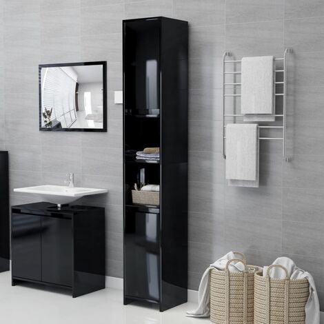 Bathroom Cabinet High Gloss Black 30x30x183.5 cm Chipboard