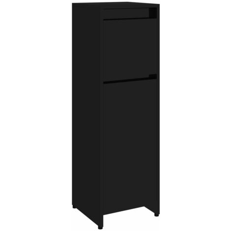 Bathroom Cabinet High Gloss Black 30x30x95 cm Chipboard