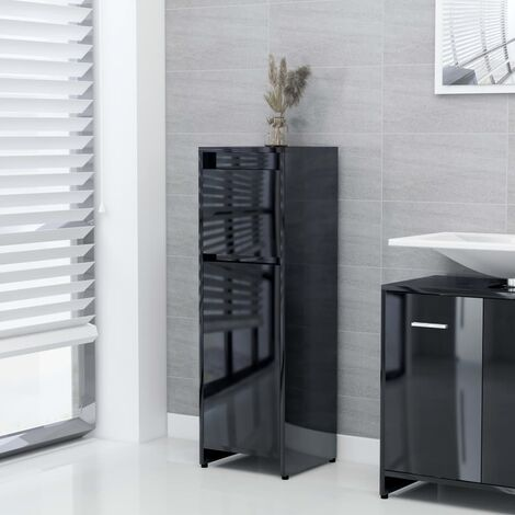 Bathroom Cabinet High Gloss Black 30x30x95 cm Chipboard - Black