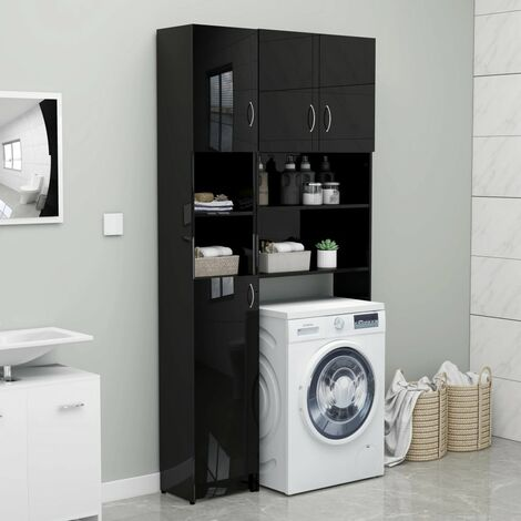 Bathroom Cabinet High Gloss Black 32x25.5x190 cm Chipboard