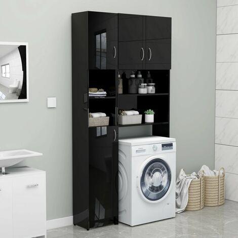 Bathroom Cabinet High Gloss Black 32x25.5x190 cm Chipboard - Black