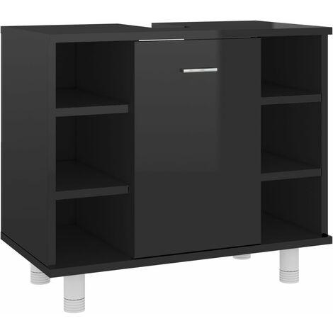 Bathroom Cabinet High Gloss Black 60x32x53.5 cm Chipboard