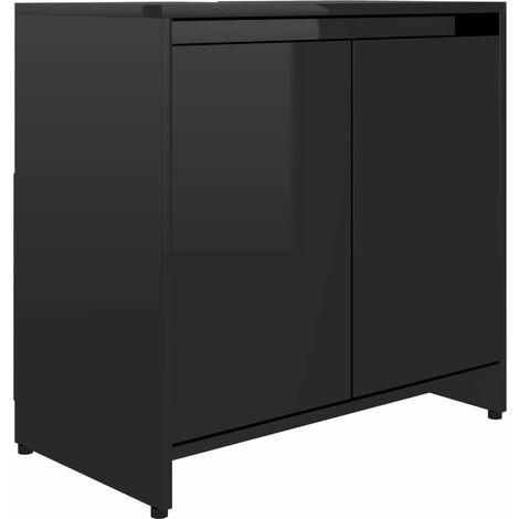 Bathroom Cabinet High Gloss Black 60x33x58 cm Chipboard