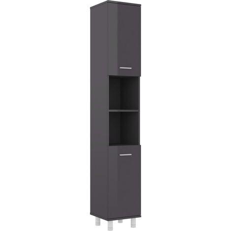 Bathroom Cabinet High Gloss Grey 30x30x179 cm Chipboard