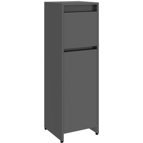 Bathroom Cabinet High Gloss Grey 30x30x95 cm Chipboard