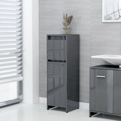 Bathroom Cabinet High Gloss Grey 30x30x95 cm Chipboard - Grey