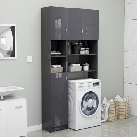 Bathroom Cabinet High Gloss Grey 32x25.5x190 cm Chipboard