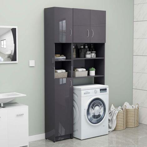 Bathroom Cabinet High Gloss Grey 32x25.5x190 cm Chipboard - Grey