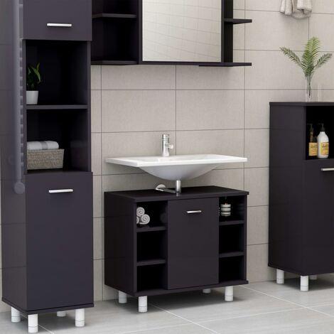 Bathroom Cabinet High Gloss Grey 60x32x53.5 cm Chipboard