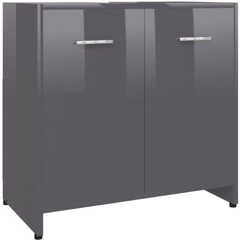 Bathroom Cabinet High Gloss Grey 60x33x58 cm Chipboard