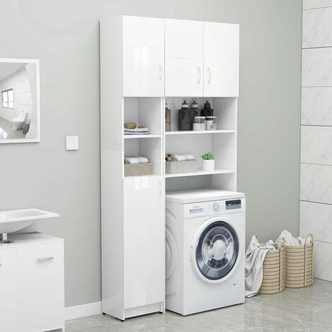 Bathroom Cabinet High Gloss White 32x25.5x190 cm Chipboard