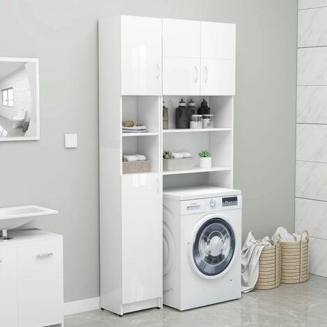 Bathroom Cabinet High Gloss White 32x25.5x190 cm Chipboard - White