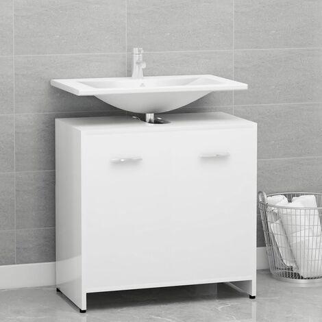 Bathroom Cabinet High Gloss White 60x33x58 cm Chipboard