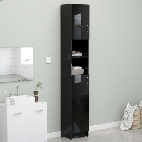 Bathroom Cabinet High GlossBlack 32x25.5x190 cm Chipboard