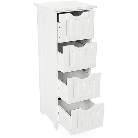 Bathroom Cabinet on Legs, Storage Cabinet, 4 Drawers, for Living Room, Kitchen and Hallway, White