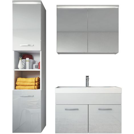 Bathroom furniture set Paso 80cm basin white high gloss fronts - Storage cabinet vanity unit sink furniture