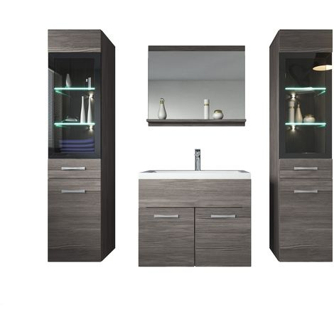 Bathroom furniture set Rio xl 60cm basin Bodega (grey) - 2x Storage cabinet vanity unit sink furniture