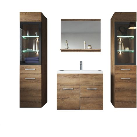 Bathroom Cabinet Rio Xl 60cm Basin Lefkas Brown 2x Storage Vanity Unit Sink Furniture