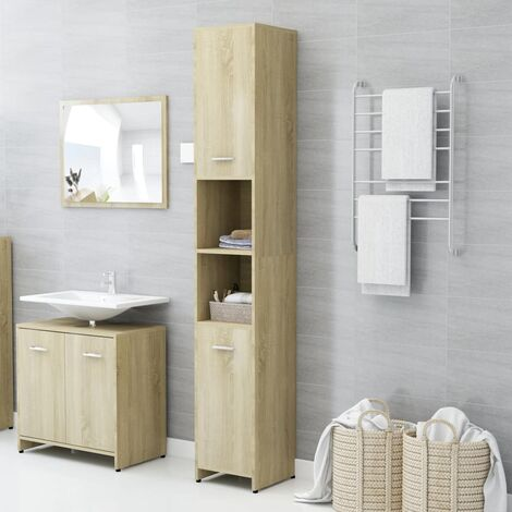 Bathroom Cabinet Sonoma Oak 30x30x183.5 cm Chipboard