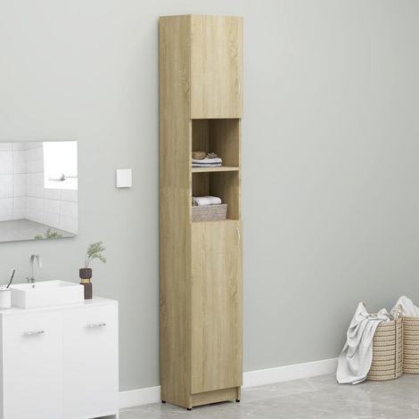 Bathroom Cabinet Sonoma Oak 32x25.5x190 cm Chipboard