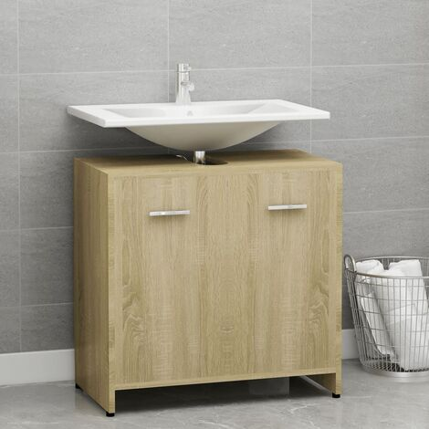 Bathroom Cabinet Sonoma Oak 60x33x58 cm Chipboard