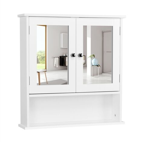Bathroom Cabinet Wall-Mounted Storage Cabinet with Double Mirror Doors Adjustable Shelf, White 56cm x 13cm x 58cm