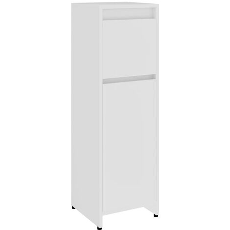 Bathroom Cabinet White 30x30x95 cm Chipboard