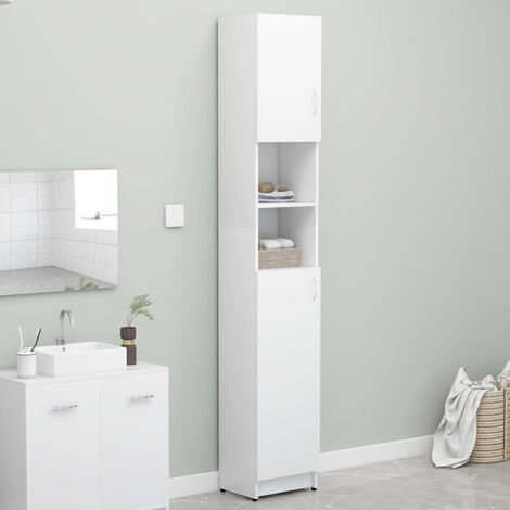 Bathroom Cabinet White 32x25.5x190 cm Chipboard