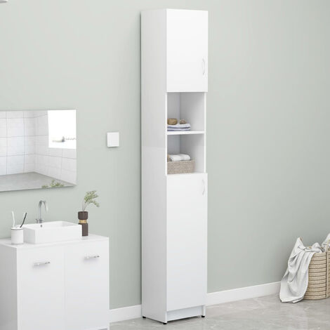 Bathroom Cabinet White 32x25.5x190 cm Chipboard