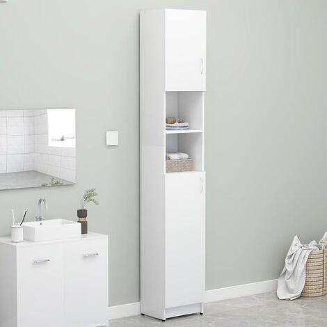 Bathroom Cabinet White 32x25.5x190 cm Chipboard - White