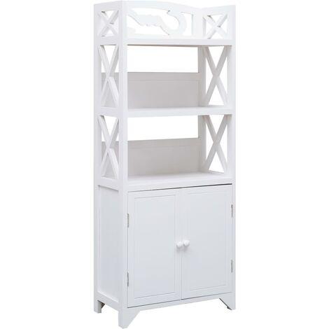 Bathroom Cabinet White 46x24x116 cm Paulownia Wood