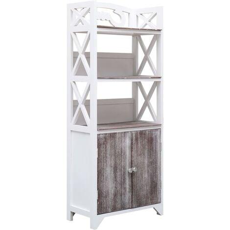 Bathroom Cabinet White and Brown 46x24x116 cm Paulownia Wood - Brown