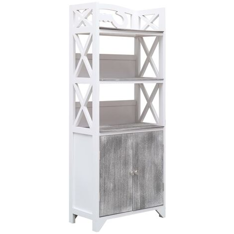 Bathroom Cabinet White and Grey 46x24x116 cm Paulownia Wood