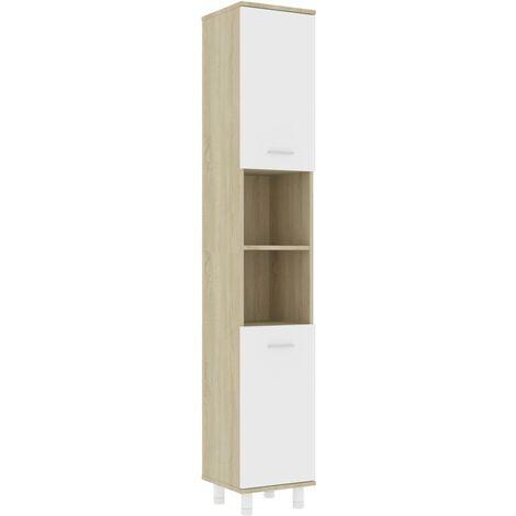 Bathroom Cabinet White and Sonoma Oak 30x30x179 cm Chipboard