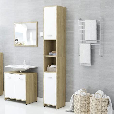 Bathroom Cabinet White and Sonoma Oak 30x30x183.5 cm Chipboard