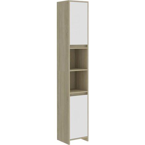 Bathroom Cabinet White and Sonoma Oak 30x30x183.5 cm Chipboard