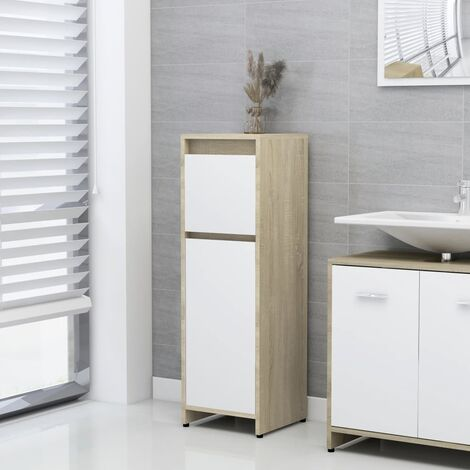 Bathroom Cabinet White and Sonoma Oak 30x30x95 cm Chipboard