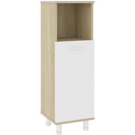 Bathroom Cabinet White and Sonoma Oak 30x30x95 cm Chipboard