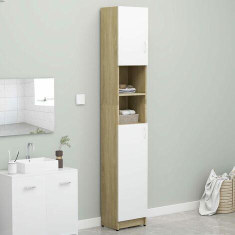 Bathroom Cabinet White and Sonoma Oak 32x25.5x190 cm Chipboard